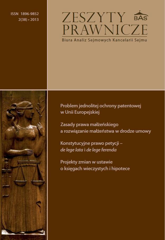 Zeszyty Prawnicze Biura Analiz Sejmowych Kancelarii Sejmu 2/2013