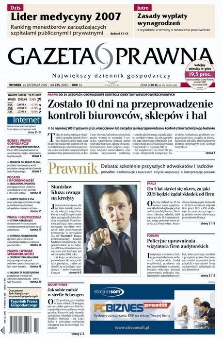 Gazeta Prawna z20 listopada 2007