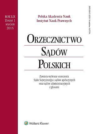 Orzecznictwo Sądów Polskich 1/2015