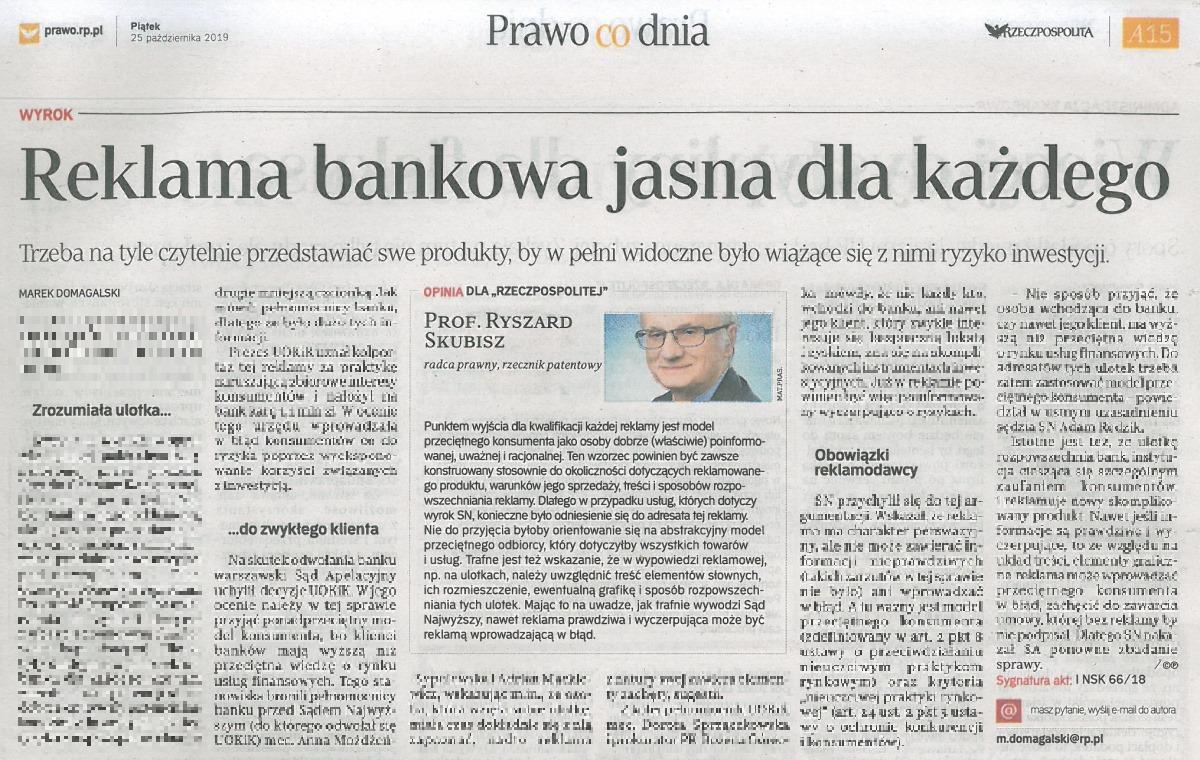 Rzeczpospolita. Reklama bankowa jasna dla każdego. Komentarz Prof.Ryszarda Skubisza