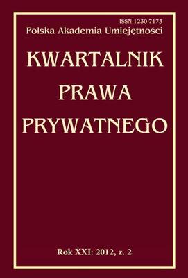 Kwartalnik Prawa Prywatnego Rok XXI 2012 zeszyt 2