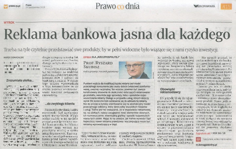 Rzeczpospolita. Reklama bankowa jasna dla każdego. Komentarz Prof. Ryszarda Skubisza